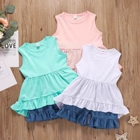 vogueon 2021 new summer fashion children clothing sleeveless ruffle girls outfits kids tops shorts 2pcs set girl for 1 5 years