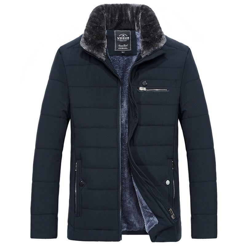 Мужская теплая куртка, зимняя парка с меховым воротником, ветровка, анорак с хлопковой подкладкой, плотное черное пальто, мужская повседнев...