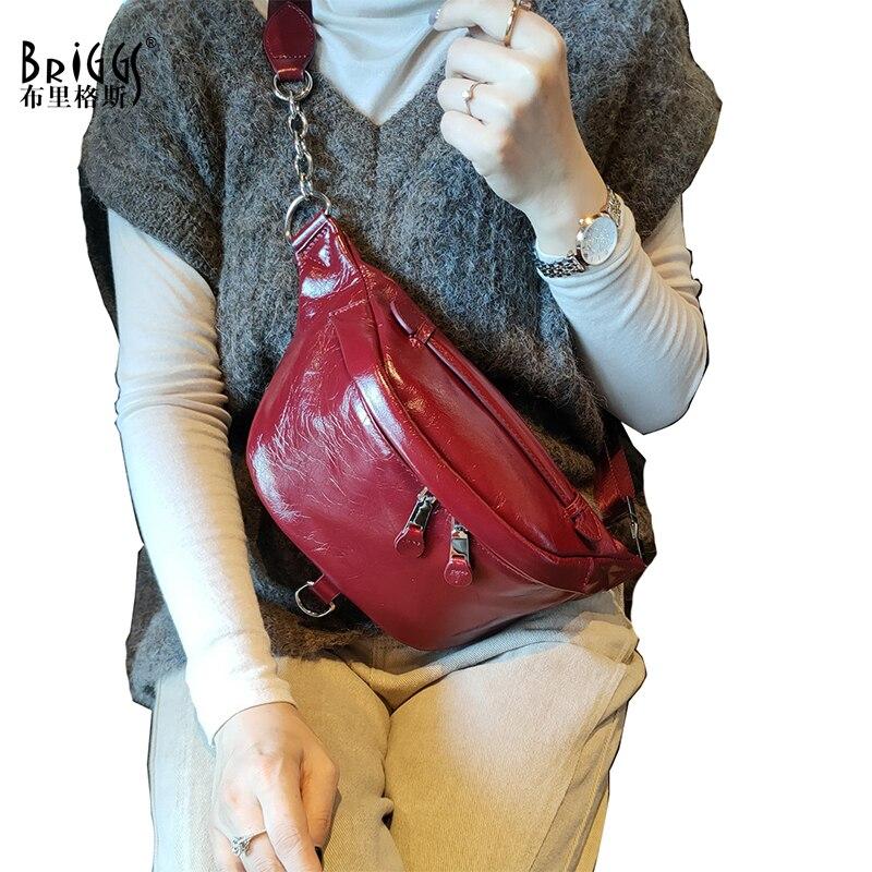 بريج-حقيبة كتف من الجلد الطبيعي للنساء ، حقيبة موز ذات نوعية جيدة ، عصرية