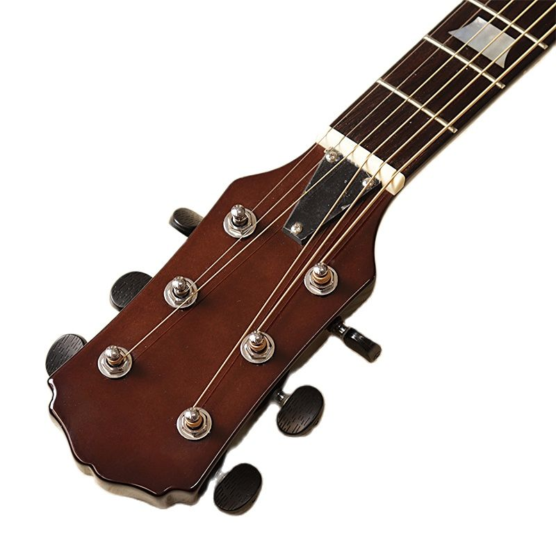 Neck through 39 inch solid wood body silent electric acoustic guitar 6 string silence folk guitar with EQ tuner function natural enlarge