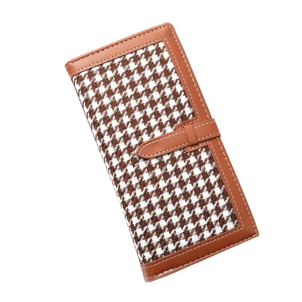 2021 Fashion houndstooth purse women Long Leather wallet ladies Multi Card holder women's wallet Brand billeteras para mujer