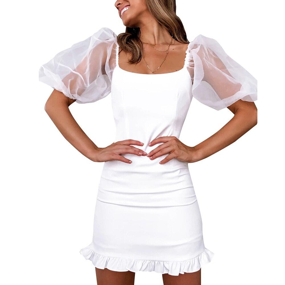 Goocheer женское Белое Облегающее платье с коротким рукавом Сетчатое коктейльное вечернее платье с пышными рукавами белое платье без бретелек мини-платья