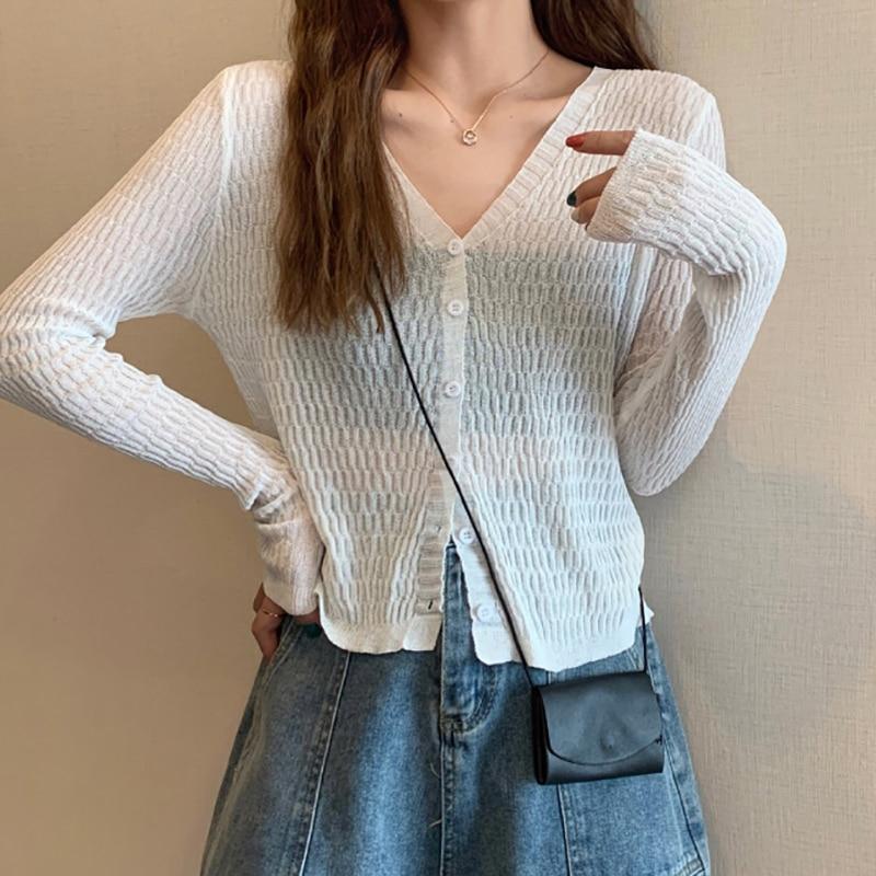 Фото - Korean Fashion Loose Thin Sweater Solid V-Neck Knitted Long Sleeved Cardigan Women Clothing 2021 Tops Blusa De Frio Feminina frio