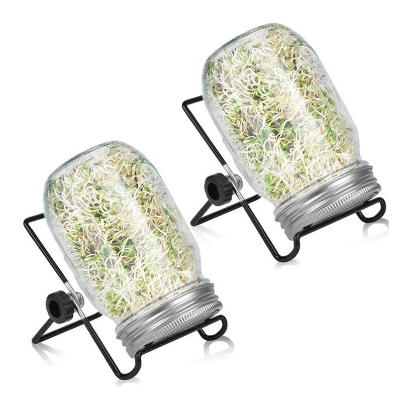 2 Sets 1000 مللي جرة سبروتر الزجاج ، تنبت مجموعة جرة للمطبخ المنزل/حديقة ، غطاء من الفولاذ المقاوم للصدأ ميسون وعاء مع حامل