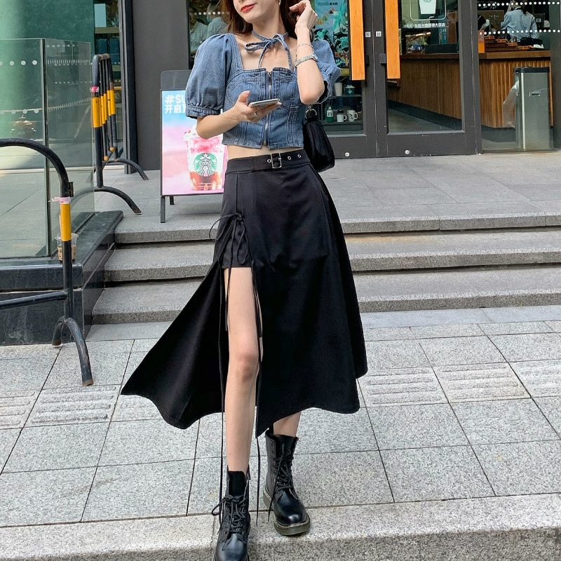 Zwei Stück Set Für Frauen Ästhetischen Sommer 2020 Unregelmäßigen Röcke + Crop Tops Zipper Jean Shirts Sexy Streetwear Sets Korea stil