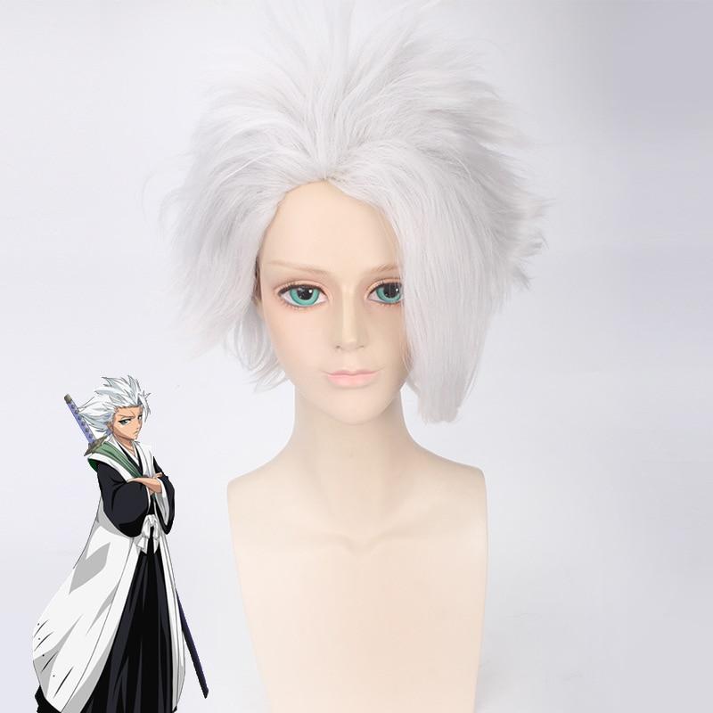 BLEACH Hitsugaya Toushirou Cosplay peluca corta de pelo sintético en capas mullido blanco plateado Peluca de Anime disfraz de juego de rol pelucas + peluca Ca