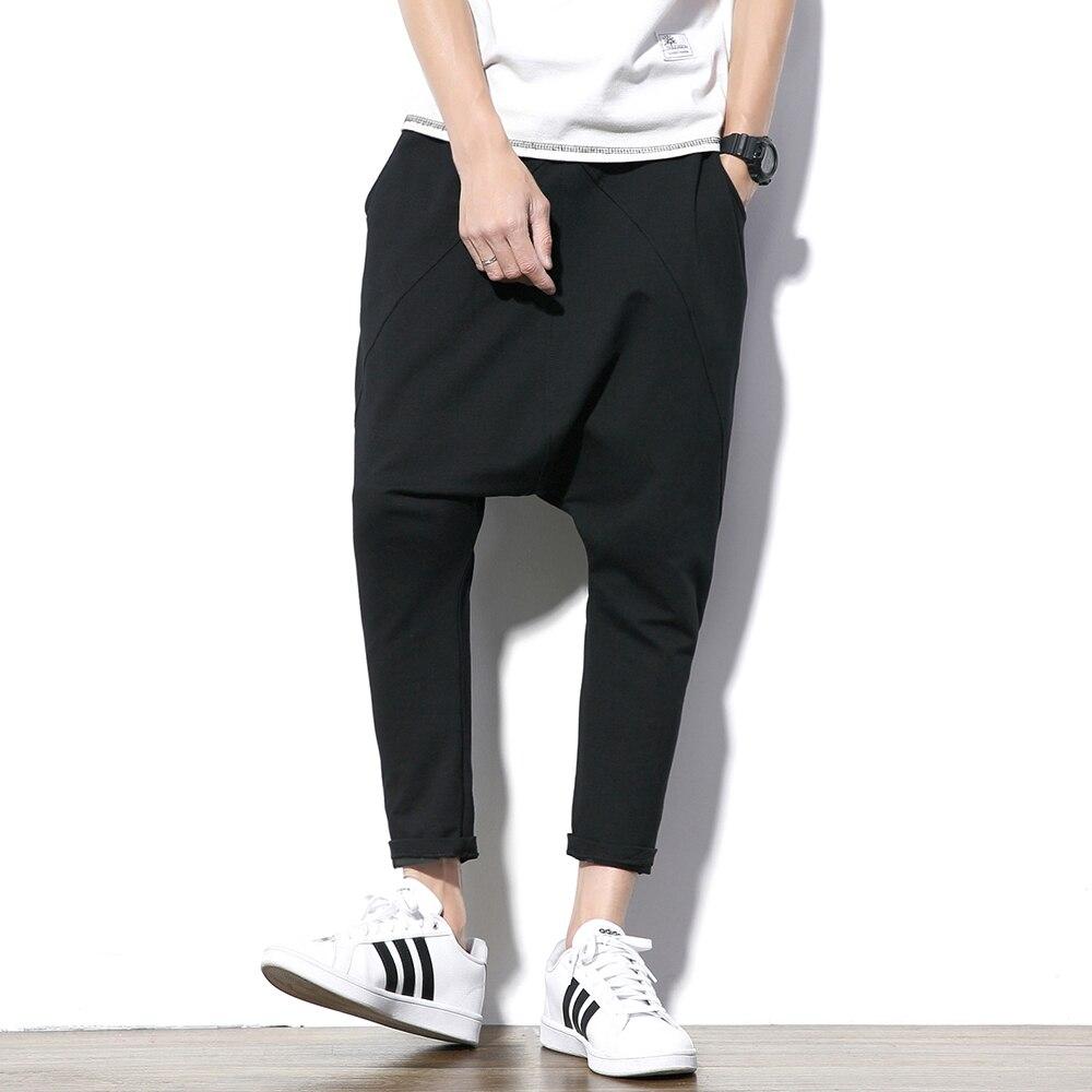Модные шаровары, мужские брюки, Мешковатые Свободные черные спортивные брюки, мужские брюки в стиле хип-хоп, повседневные мужские брюки, шта...