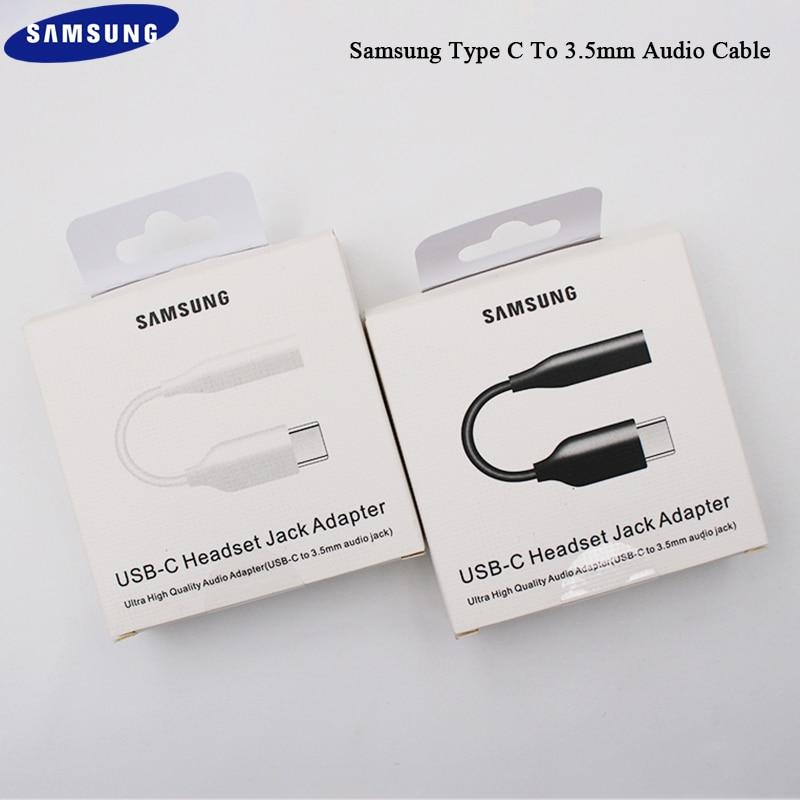 Samsung-auriculares con conector tipo C 3,5, Cable USB C Original a 3,5mm, adaptador de auriculares AUX para Samsung Galaxy S20 + NOTE 9 10 + pro A90