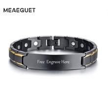 Bracelet personnalisé didentification dinformations personnelles de santé magnétique dacier inoxydable des hommes pour les bracelets de manchette biomagnétiques de thérapie dhommes