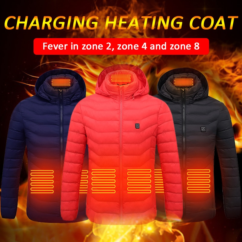 High Quality Heated Jackets Vest Down Cotton Mens Women Outdoor Coat USB...