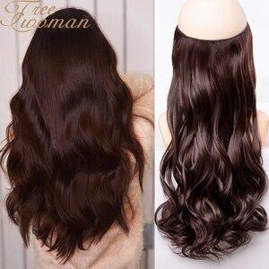 Женская темно-коричневая невидимая проволока FREEWOMAN без зажимов для наращивания волос в форме рыбки длинные волнистые термостойкие синтети...