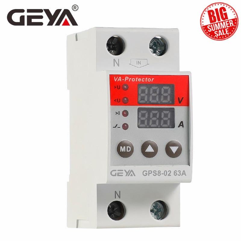 GEYA-GPS8 Din Rail ، واقي التيار الزائد للجهد الزائد ، جهاز حماية تحت الجهد 63A 220VAC ، وصول جديد