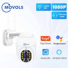 MOVOLS 1080P Tuya WIFI IP камера Smart Auto Tracking Googole Alexa Беспроводная PTZ наружная камера видеонаблюдения CCTV