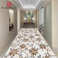 bubble kiss corridor long carpet brown flower printed area rugs retro home living room decoration hallway hotel floor mats