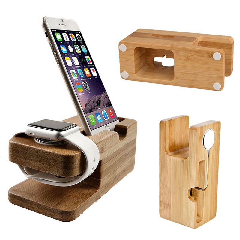 Bamboo Material Charging Dock Base Multifunction Phone Stands Fashion Charger Holder For Apple Watch