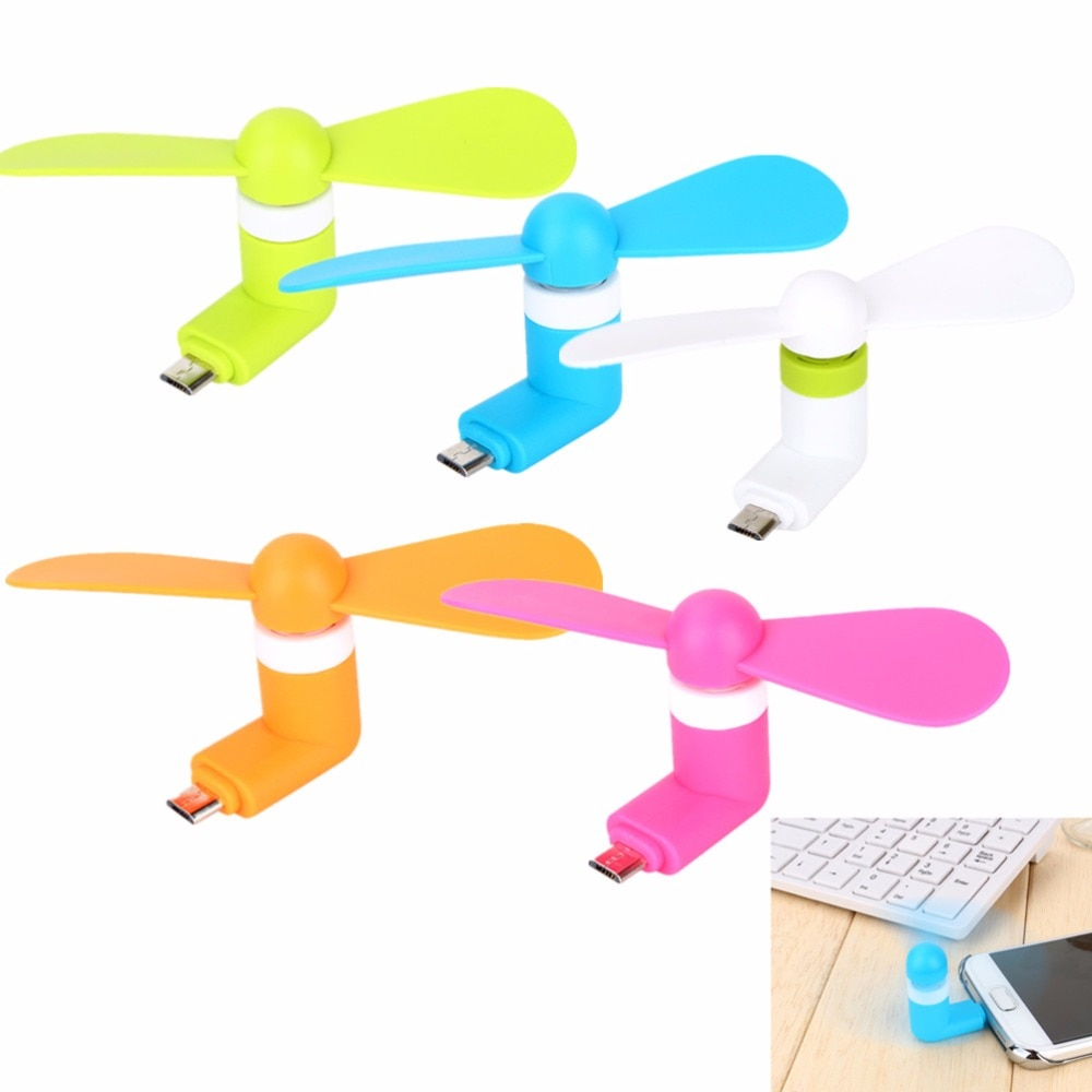 1PC Mini USB Fan Portable Super Mute 5Pin Micro USB Fan Cooling Cooler Powered by Android Phone Micro USB Port Random Color