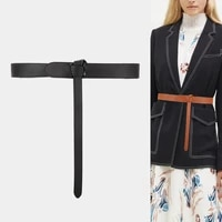 genuine leather waistbands for dress high quality fashion long solid cowskin knotted belt lady skirt wedding cummerbunds gifts
