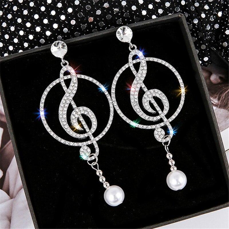 Símbolo de Música FYUAN Strass Brincos de Cristal Da Gota para As Mulheres Geométricas Brincos de Pérola Declaração Jóias Moda Festa