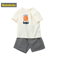 Balabala Boy short sleeve baby set 2020 summer new children clothing suit cotton cartoon T-shirt pants