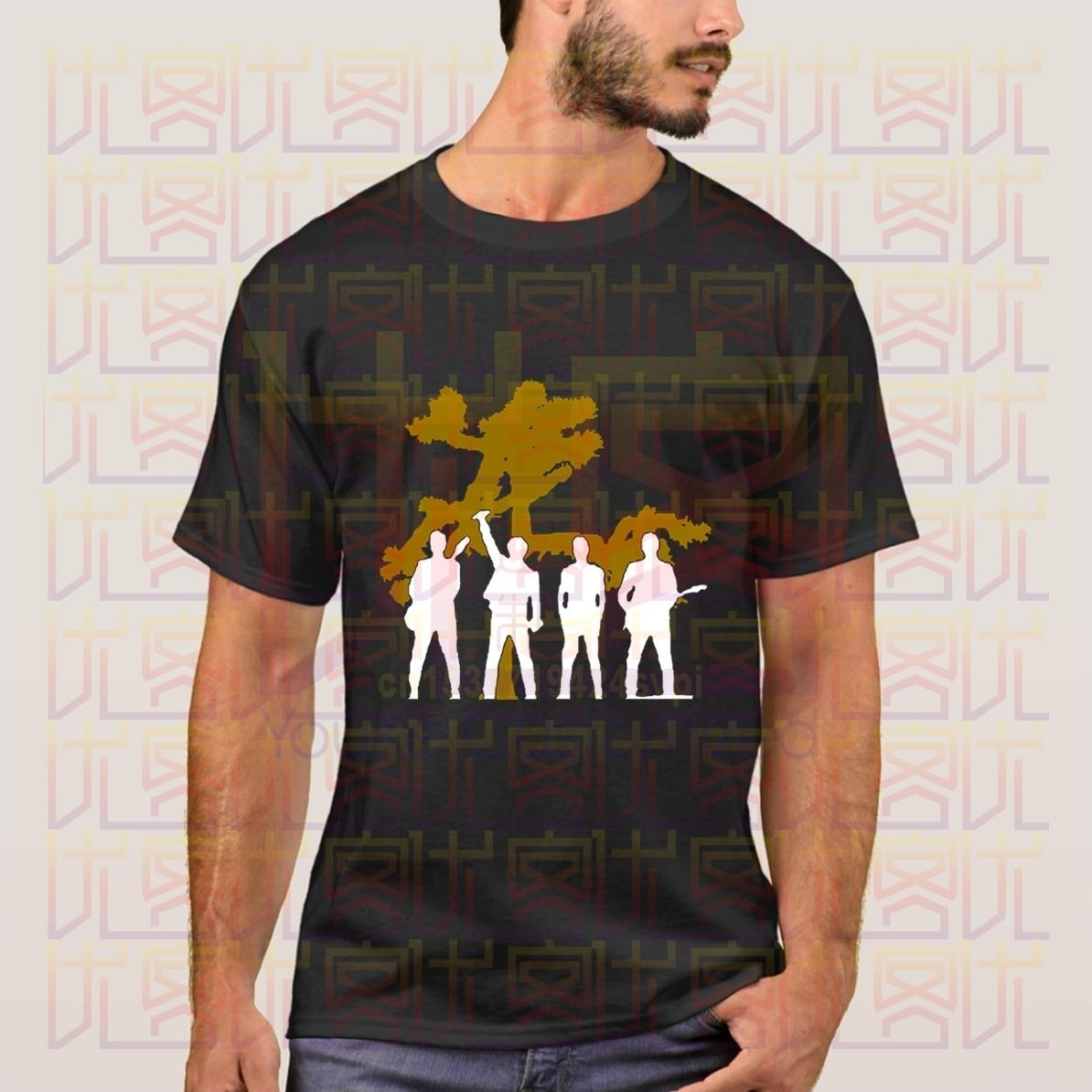 Lo más nuevo del verano 2020 U2, póster de siluetas de árboles de Josué, 100%, ropa informal de algodón, camiseta para hombre, camisetas, S-4XL