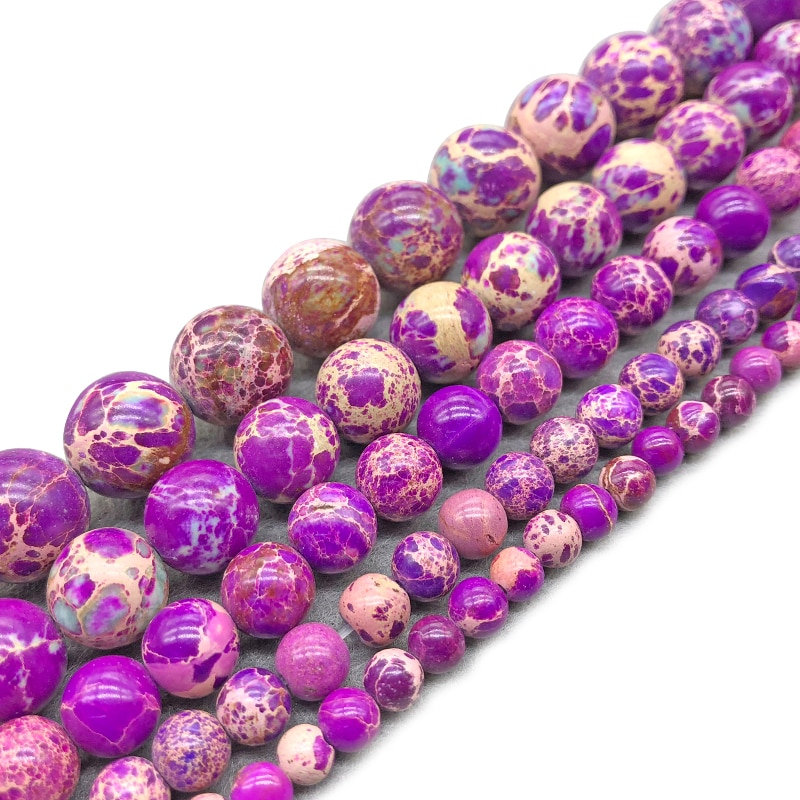 Natural Stone  Purple Sea Sediment Imperial Jaspers Round Loose Beads 8MM Pick Size For Jewelry Making DIY Bracelet
