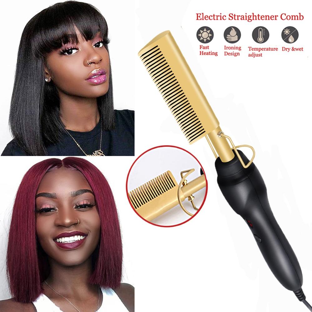 Comb Hot Comb Hair Straightener Flat Irons Electric Hair Curling Iron Titanium Alloy Hair Curler Brush Environmentally Friendly