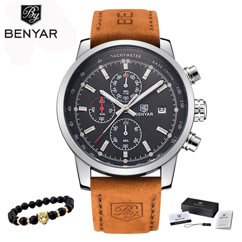 BENYAR Watches Men Luxury Brand Quartz Watch Fashion Chronograph Watch Reloj Hombre Sport Clock Male