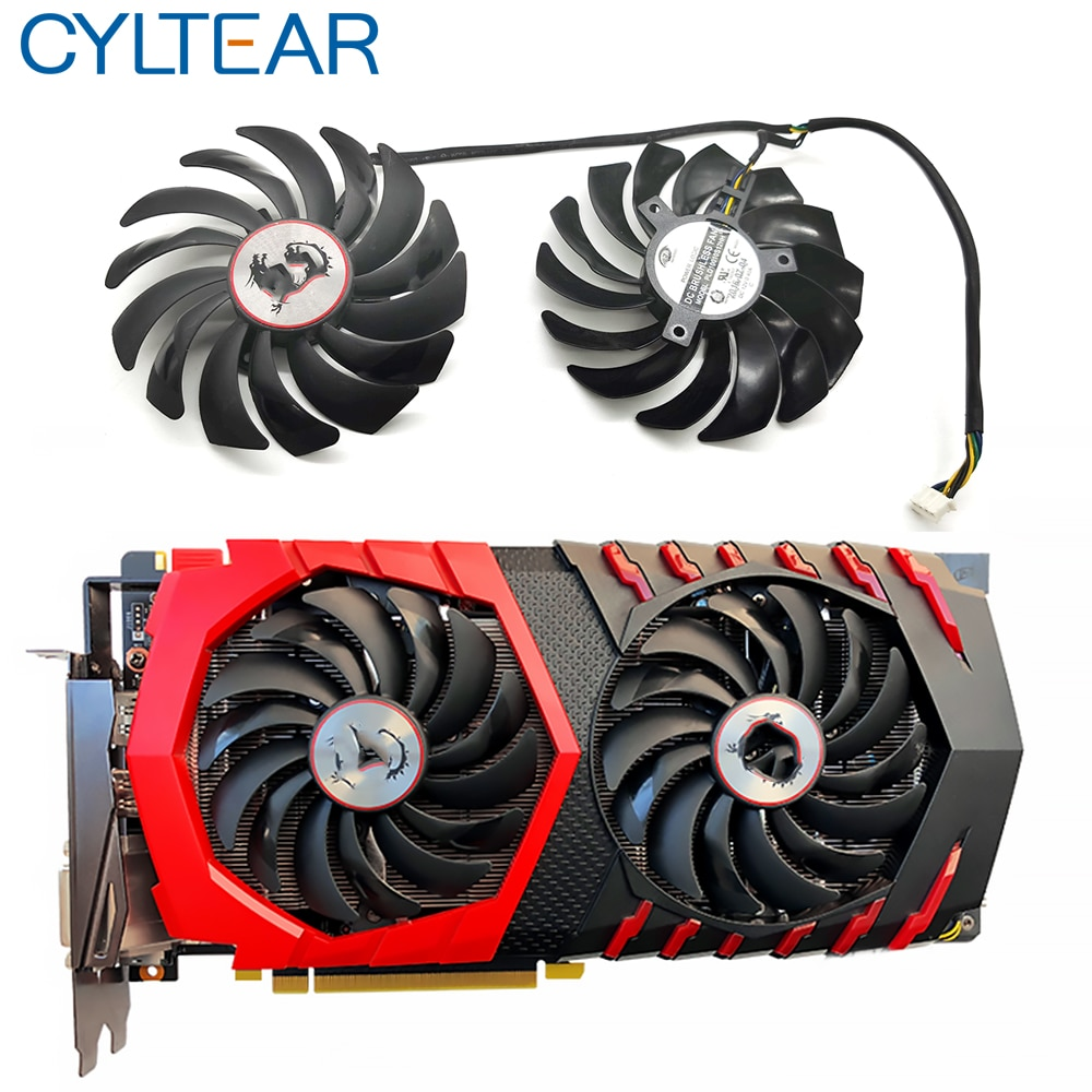 2PCS PLD10010S12HH DC12V 0.40A 4PIN 6WIRES FOR MSI RX470 480 570 580 GTX1080Ti 1080 1070 1060 GAMING Graphics Card Cooler Fan