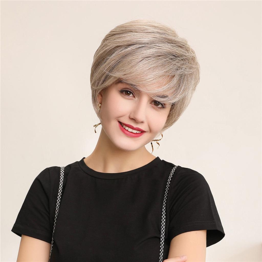 6inch Women Short Straight Wig Natural Look Real Human Hair Daily Wig