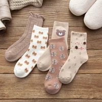 womens winter socks forest bear terry cute and playful pattern womens socks comfortable and skin friendly cotton socks