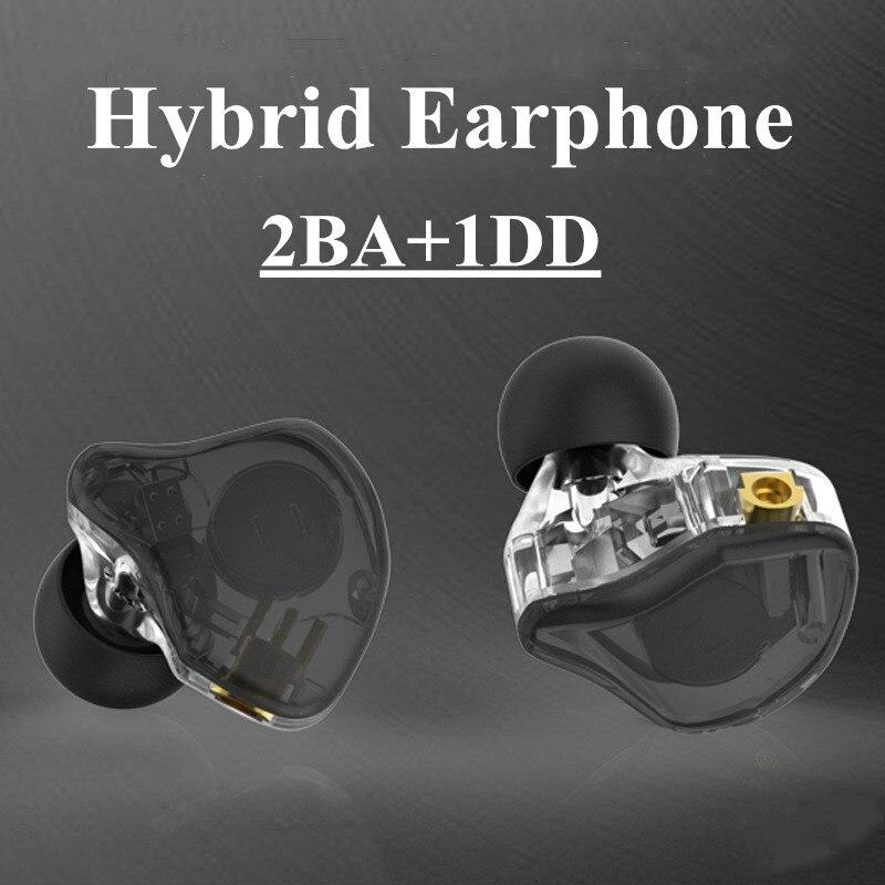 Fones de Ouvido Estéreo de Alta Fone de Ouvido 2ba + 1dd Mmcx Fidelidade Híbrido Personalizado Hi-res Atp-x Monitoramento dj d5