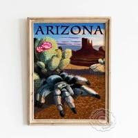 america arizona travel advertising poster blond tarantula cactus sandstone canvas painting city landform landscape wall decor