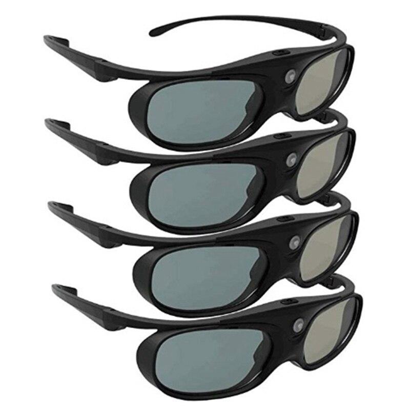 4 قطعة نظارات ثلاثية الأبعاد مصراع نشط ل DLP لينك متوافق 96-144HZ مع Optama /Acer/BenQ /ViewSonic/XGIMI DLP لينك أجهزة العرض