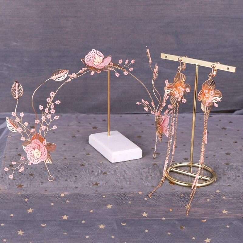 Tiara y pendientes con cuentas hechas a mano con flor Rosa dulce...