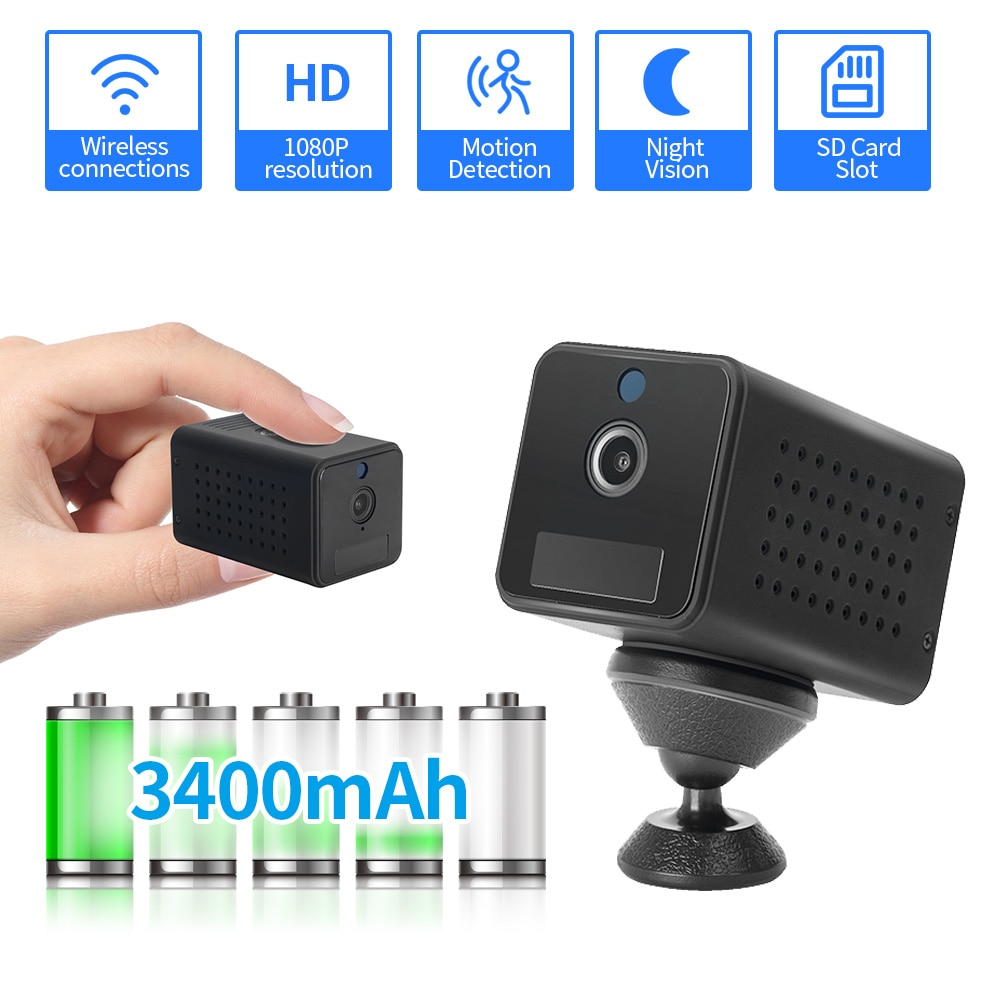 FEISDA 1080P كاميرا واي فاي صغيرة بطارية قابلة للشحن تعمل بالطاقة اللاسلكية CCTV الأمن كاميرا مراقبة للرؤية الليلية كام