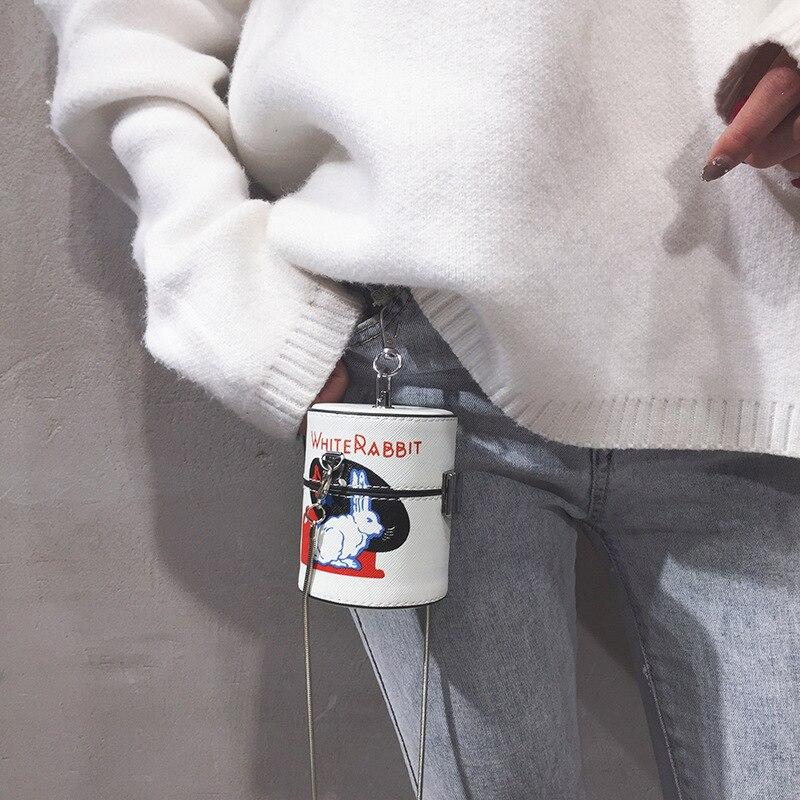 Mini cylindre en forme dépaule messager sacs à bandoulière pour les femmes dessin animé blanc lapin impression Pu chaîne sac à main avec le seau