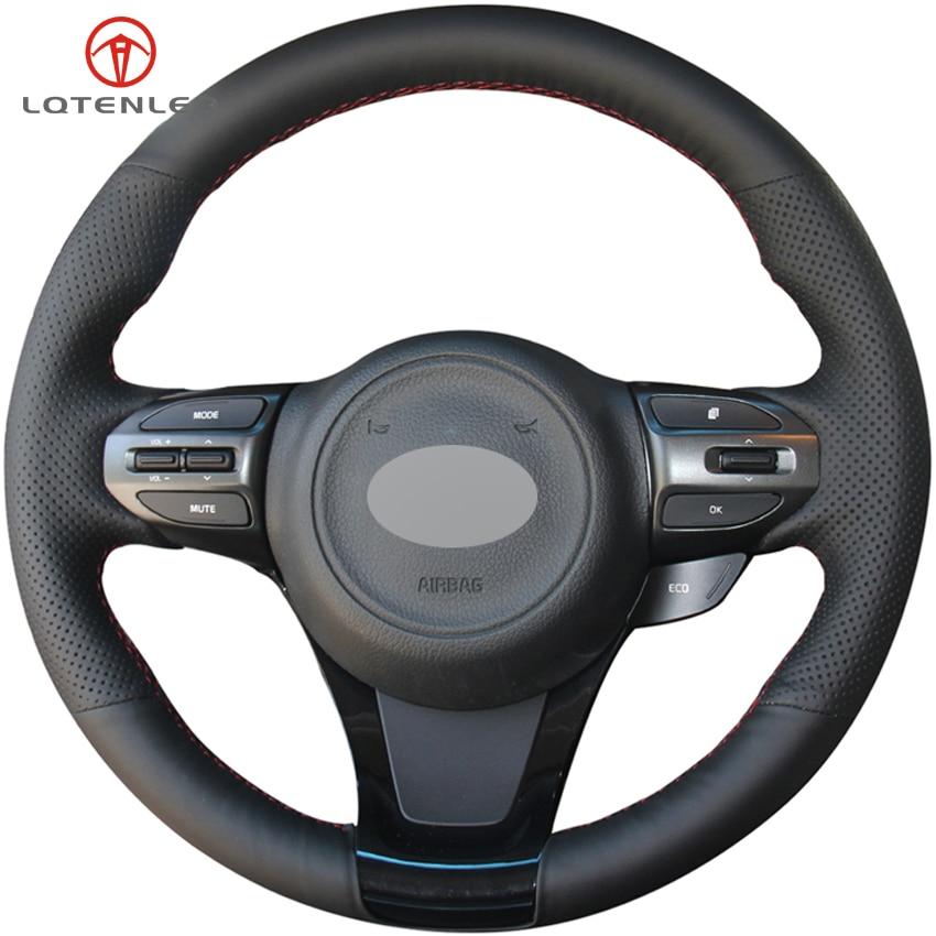 Cubierta de volante de cuero Artificial negro LQTENLEO para Kia K5 Optima 2013-2015 K4 2013-2017 K4 cachet 2017 2018 KX3 2014