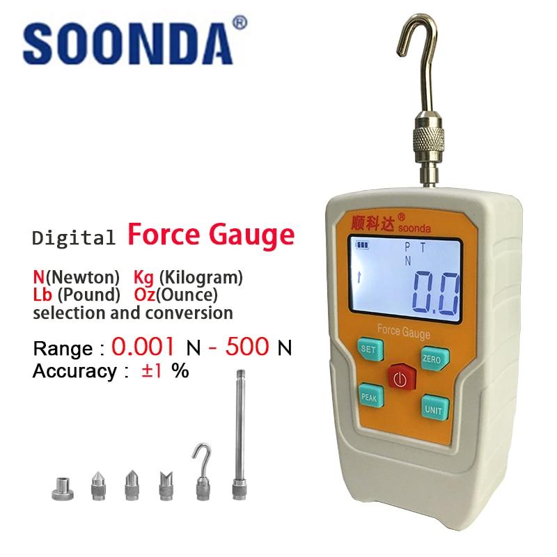 Soonda Digital Force Gauge Tensiometer Meter Tester Rope Spokes Analog Tension Push Pull Load Physical Measure Instruments Tools