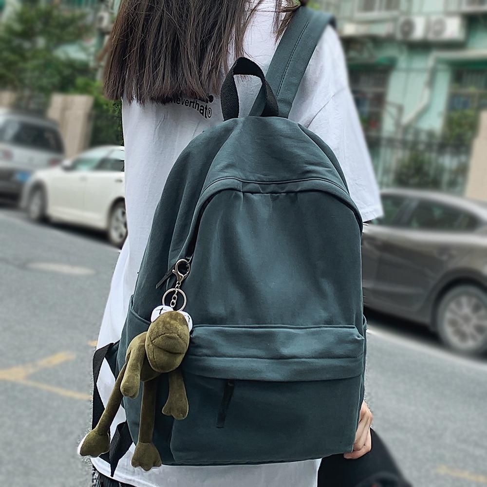 Women Green Cotton School Bag Female Kawaii Fashion Student Backpack Ladies Laptop College Bag Trend