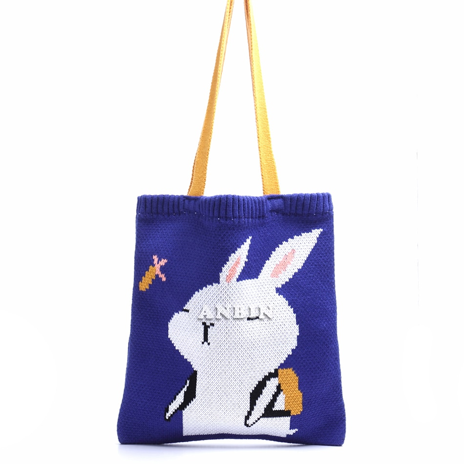 Casual College Style High Quality Winter Knitted Wool Woven Shoulder Bag Funny Rabbit Tote Foldable