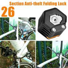 Bloqueo de bicicleta plegable con bloqueo de aleación de Hamburg antirrobo de alta seguridad, bloqueo de bicicleta plegable, soporte de montaje, bloqueo de cadena de bicicleta