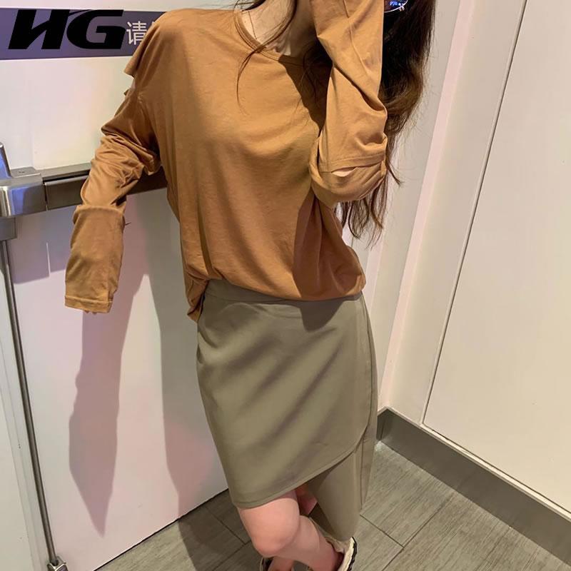 Женский пуловер с дырками HG, осенняя Повседневная модная футболка с длинным рукавом, подходящая ко всему, ZYQ4233, 2020