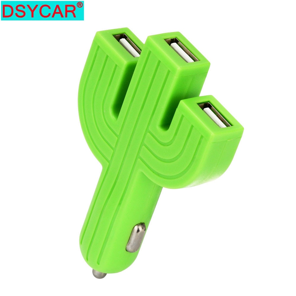 DSYCAR 1Pcs Car USB Charger Quick Charge Mobile Phone Cactus Multifunctional 3