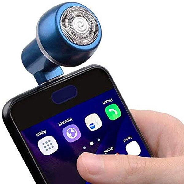 Maquinilla de afeitar para teléfono móvil con USB/Micro USB/Tipo C/conector de iluminación, plug & play, fácil de usar, mini portátil