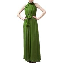 Women Summer Loose Maxi Dress Sexy Elegant Sleeveless Halter Chiffon Beach Dress Long Party Dress Wi