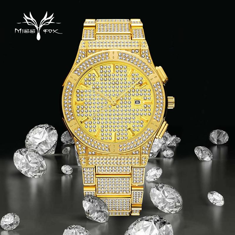 Reloj MISSFOX para hombre, reloj de pulsera de diamante brillante de lujo dorado con esfera grande, reloj analógico resistente al agua, relojes Dropshipping relojes para hombre
