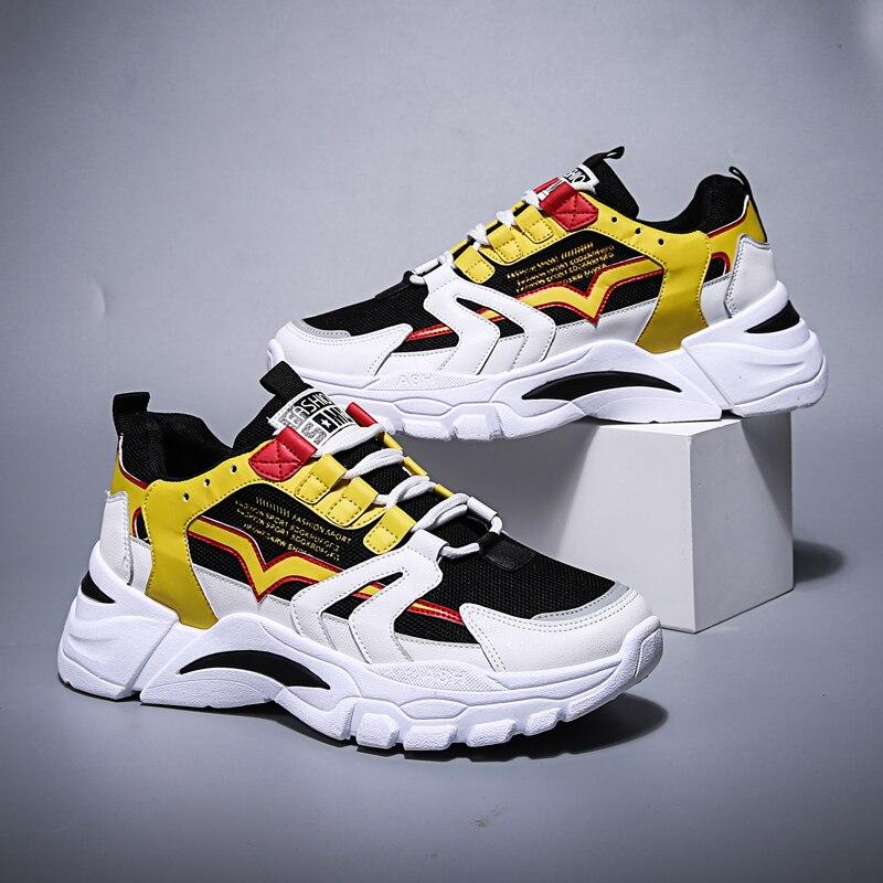 Nova moda popular sapatos casuais para homem respirável plataforma lazer tênis homem rendas respirável sapatos de caminhada tamanho 35-44
