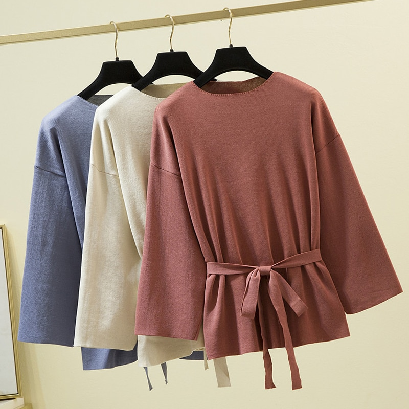 Clothes For Women 2020 Fall Loose Knitted Sweater Lace Up Bow Sweet Korean Style Woman Sweaters Long Sleeve Pullovers Pull Femme late fall circle hoop lace up sweater
