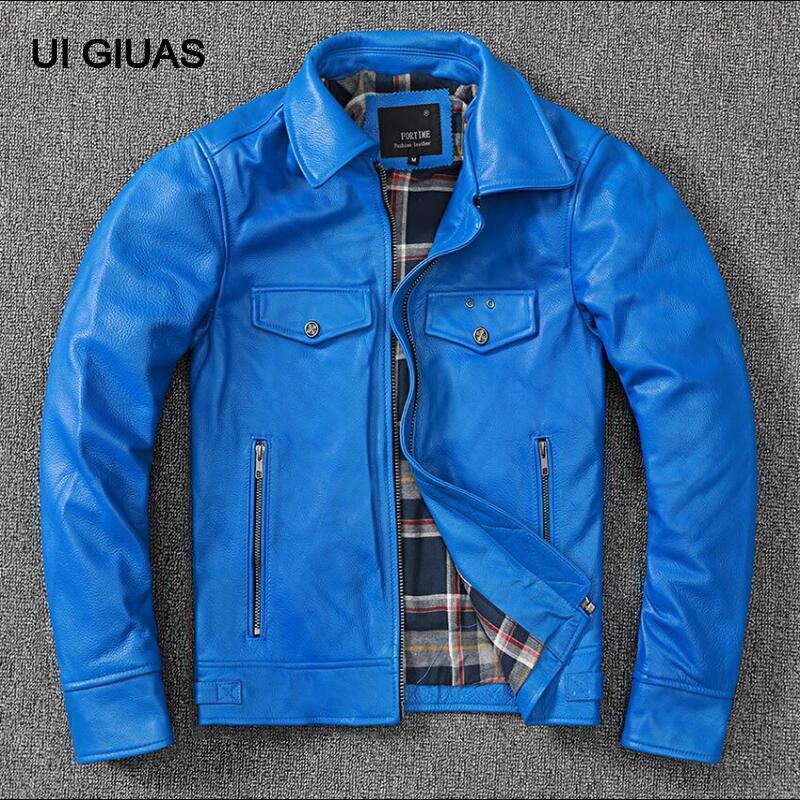 UI جواس ماركة الياقوت الأزرق ستار موضة نمط الرجال جلد طبيعي سترة معطف عالية الشارع الصبي الملابس الشتاء الدافئة سماكة