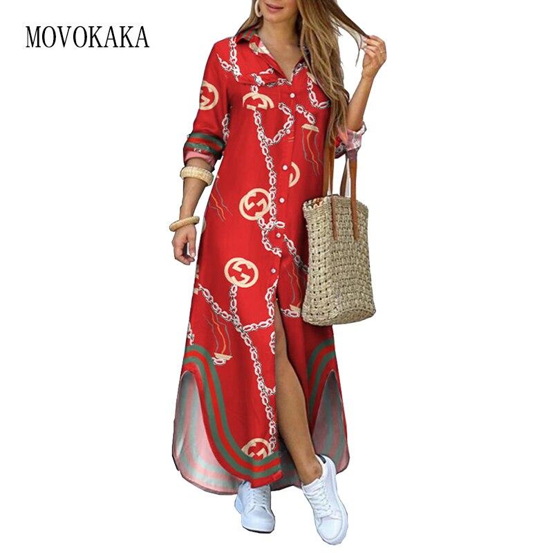 MOVOKAKA Fashion Women's Dress 2021 Red Casual Plus Size Robe Long Sleeve Dresses Woman Elegant Butt